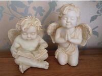 Pair of Ornamental Cherubs, Angels Indoor or Outdoor Garden Display NEW