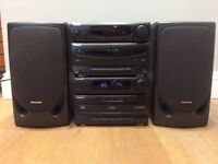 Panasonic hifi system 2 x 35W , fully working, with two extra speakers and remote control