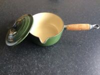 Le Creuset green pan with lid