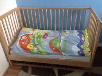 2 IKEA Gulliver Cot Beds + Mattresses & Bedding