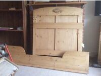 Single bed, antique Belgian pine, with custom made mattress