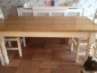Solid wood table and 6 chairs basket seating cream shabby chic done