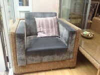 Rattan conservatory 3 seater sofa, 2 arm chairs & glass table.