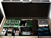 Full Guitar Effects Pedal Board, Power, Case and Pedals