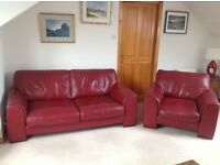 Red Leather Suite in very good condition