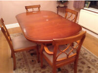 SOLID WOOD YEW EXTENDED DINING TABLE WITH 4 CHAIRS + FREE DELIVERY