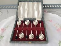 Boxed Set of Silver Plated Coffee Bean Spoons.