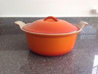 Vintage Le Creuset 22cm Cast Iron Volcanic Orange Round Casserole with Lid