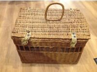 Large wicker basket with hinged lid