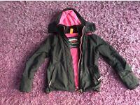 SuperDry windcheater in Pink/black