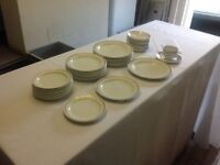 Elegant tough hotel China white with gold band by Steelite