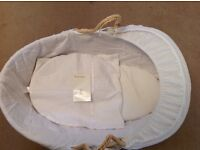 John Lewis Moses waffle basket with sheets and blanket