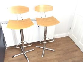 Wooden and chrome bar stools