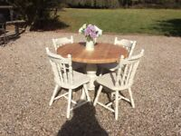 Shabby Chic Round Farmhouse Pedestal Dining Table with 4 Chairs Painted in Farrow and Ball