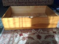 2 x pine underbed storage drawers on casters