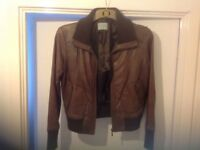 Ladies leather bomber jacket