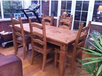 Table Solid Pine & 6 matching chairs, Corona Style