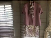 Four piece outfit, skirt, blouse, scarf and jacket. Size 16 in lilac