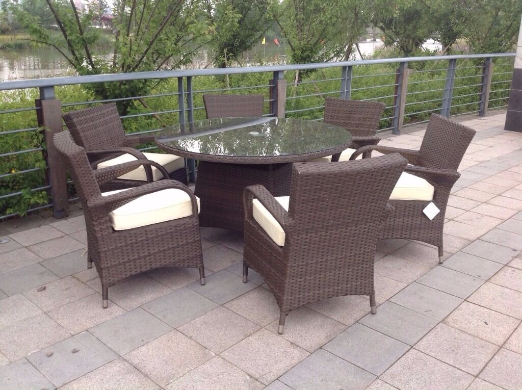 paradise 6 seater round brown or grey rattan garden furniture dining set brand new in box - Rattan Garden Furniture 6 Seater
