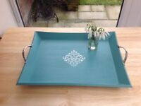 Large painted wooden tray