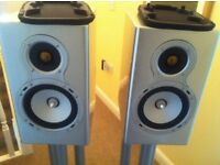Monitor Audio GS10 Speakers - Piano Silver - Complete with original packaging