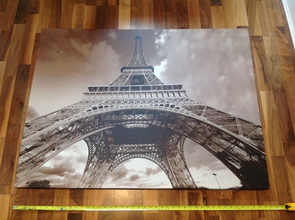 high quality paris eiffel tower print canvas wooden frame - Eiffel Tower Picture Frame