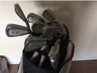 Snake eyes MENS right hand irons 3-SW. Plus bag