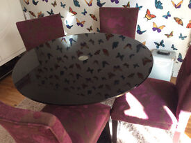 Round Glass Dining Toom Table and 4 Chairs