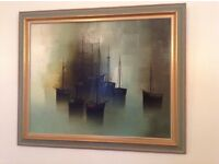 Gilbert Bria original oil painting 'Boats at rest'