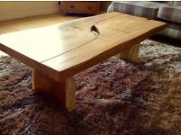 Very unique coffee table. Solid Elm. Furniture designer commission.