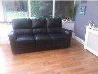 Black Leather recliner Settee