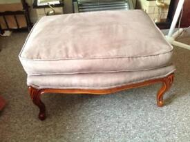 Large soft cushion stool ornate legs very good condition Fawn colour