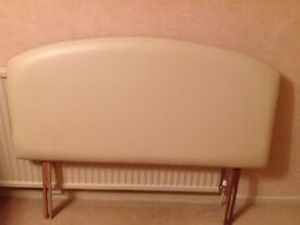 "Headboard 4' 6"" in a dark cream faux leather. Very good condition"