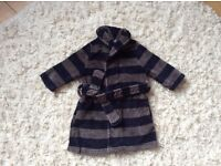 Navy / grey striped dressing gown, soft fleece, great condition