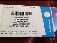Kraftwerk 3D Concert , Usher Hall , Upper Circle Row D Seat 39 Edinburgh Saterday 10th June