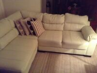 Cream leather corner settee