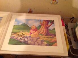 2 X Baby Winnie the Pooh framed art