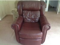Leather brown recliner chair