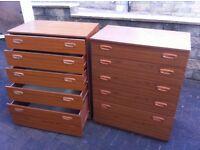 Schreiber 5 drawer chest, x2