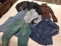 Women's jackets, denim shirt, jeans etc. most £5.00 each.