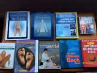 Holistic therapy books aromatherapy, reflexology, massage, muscles, acupuncture