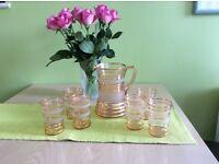 Vintage Lemonade Set Genuine early 50s, pink glasses & jug. Ideal for Pimms etc.