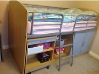 Solid Bunk bed with storage and pull out study table under