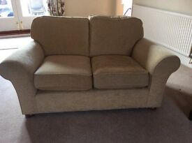 Two M&S two seater sofas in gold chenille