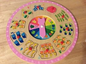 Wooden Number/Shape Puzzle & Round Wooden Number Puzzle