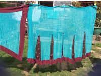 Beautiful embroidered Saree , turquoise and claret