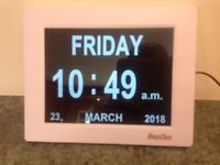 Dayclox 8. Calendar Clock. Dementia friendly. Easy to read. Feel free to contact me.