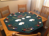 Folding Poker Table Top 8 Players Table With Chip Trays & Drink Holders. Poker chips & Playing Cards