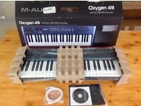Music Production Keyboard Controller- Oxygen49 USB midi Controller 3rd generation. Unused & Complete