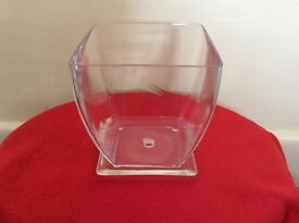 Clear glass orchid pot with tray
